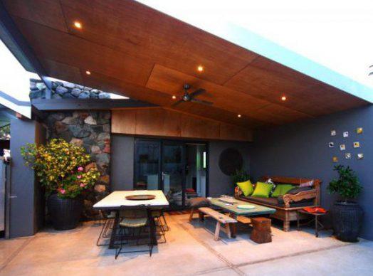 Skillion roof patios
