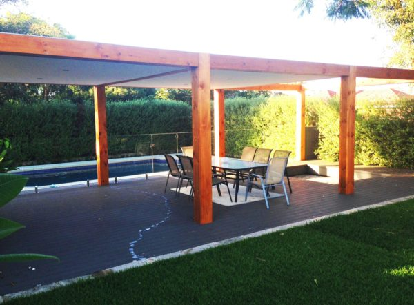 wide chunky thick pergola posts patio